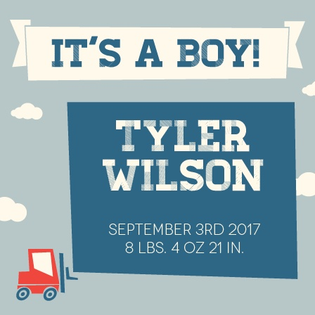 This playful toy truck baby announcement is a fun way to show off your new baby boy!