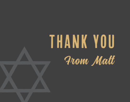Our Modern Star Bar Mitzvah Thank You Cards utilize the same gorgeous design and color scheme as several other cards in the Modern Star mitzvah suite.