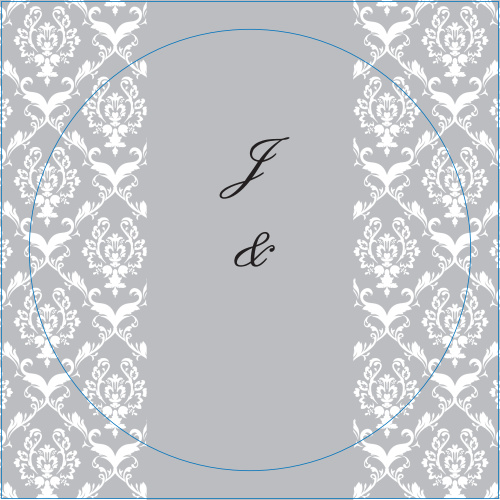 The Damask Sides logo square is the perfect finishing touch for this or any wedding invitation set.