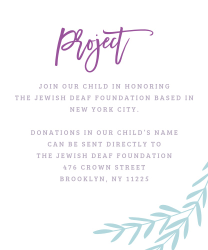 Our Elegant Vineyard Bat Mitzvah Project Cards utilize the same gorgeous design and color scheme as several other cards in the Elegant Vineyard suite.