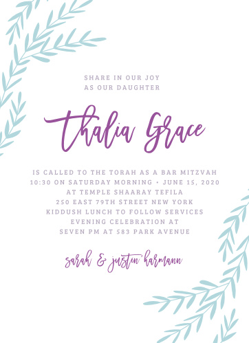 Celebrate one of the most important moments of her life- coming of age- with our stunning Elegant Vineyard Bat Mitzvah Invitations.