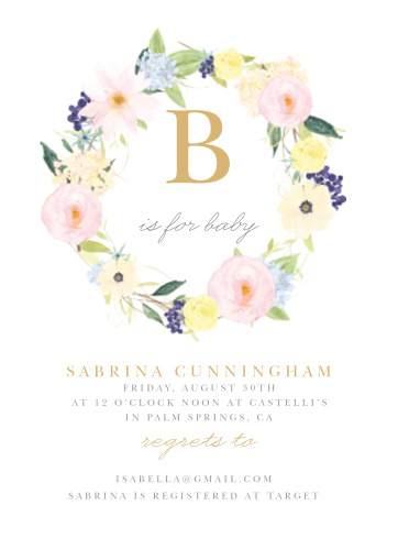 "A large, monogrammed and gold foiled ""B"" sits within a softly colored flower crown."