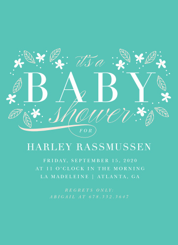 A deep aqua background is topped with darling floral decorations for our Baby's Breath Baby Shower Invitations.