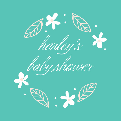 A deep aqua background is topped with darling floral decorations for our Baby's Breath Baby Shower Stickers.