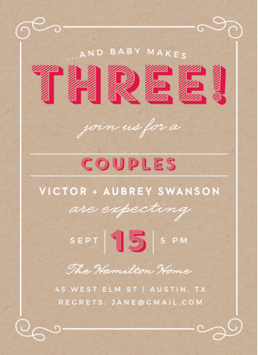 Our Big Three Baby Shower Invitations are perfect for the sweet parents who are expecting another addition to their family!
