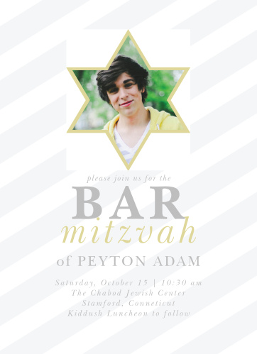 Celebrate one of the most important moments of his life- coming of age- with our stunning Frankly Framed Bar Mitzvah Invitations.