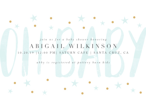 "Our Delicate Night Baby Shower Invitations have a softly colored ""oh baby"" set behind your event info."