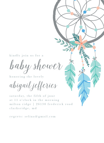 Our Dream Catcher Baby Shower Invitations feature a gorgeously designed dream catcher.