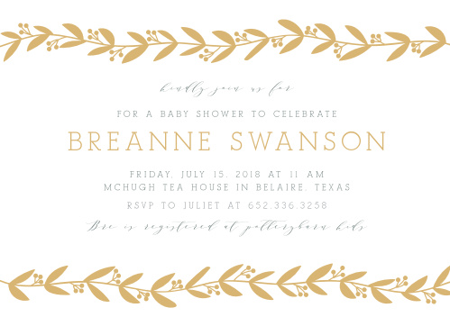 Our Elegant Berries Baby Shower Invitations feature two gold foiled vines that frame your event info.