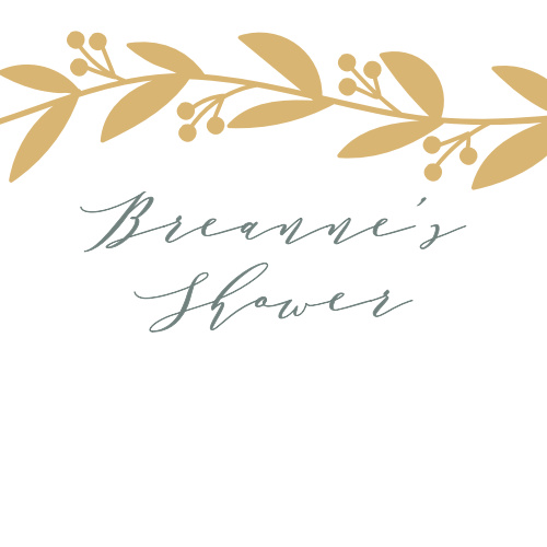 Our Elegant Berries Baby Shower Stickers features a gold foiled vine that frames your name and event.