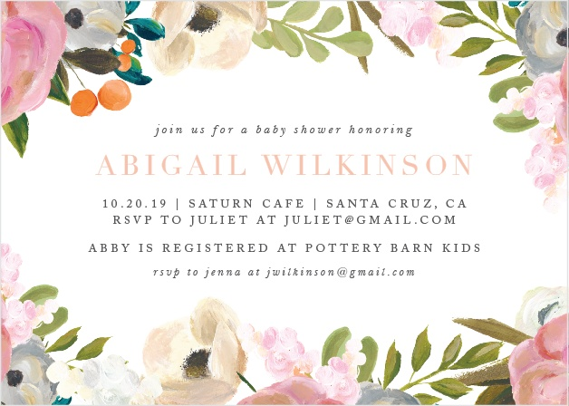 Our Goache Blooms Baby Shower Invitations feature a lovely painted floral frame