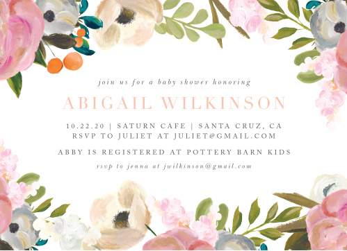 Baby shower invitations for girls basic invite gouache blooms baby shower invitations filmwisefo