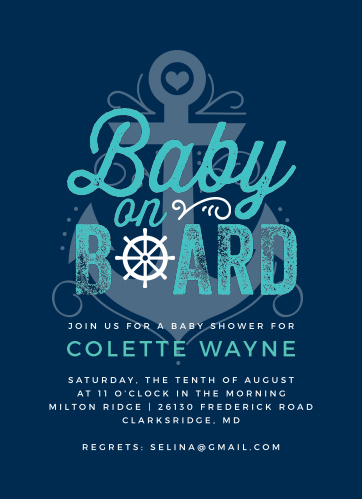 There's a baby on board! Celebrate your little treasure with our Nautical Baby Baby Shower Invitations!