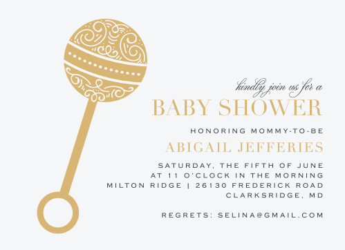 An intricate rattle done up in our luxurious, raised gold foil decorates the side of our Ornate Rattle Baby Shower Invitations.