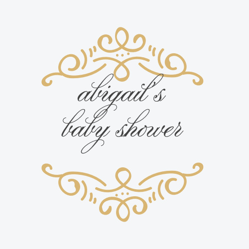 Our Ornate Rattle Baby Shower Stickers feature raised gold foil elements.