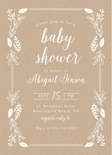 petit jardin baby shower invitations