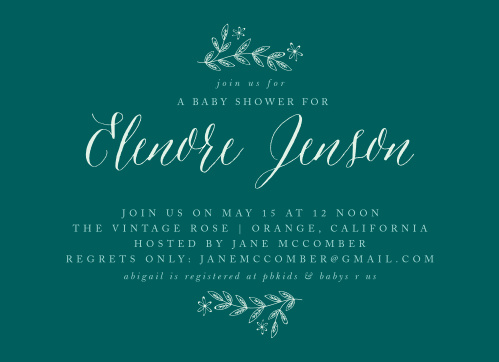 Your name is written out in an elegant sea spray green script atop a voyage colored background.
