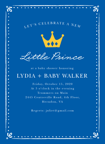 Our Sweet Prince Baby Shower Invitations are the perfect cards for your sweet little boy on the way!