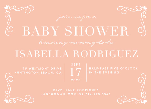 Our Swirls & Hearts Baby Shower Invitations are classically lovely.