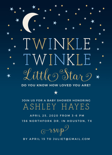 Our Twinkle Little Star Baby Shower Invitations are heartwarmingly sweet!