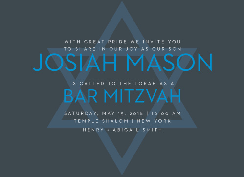Celebrate one of the most important moments of his life- coming of age- with our stunning Make A Statement Bar Mitzvah Invitations.