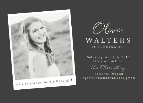 Our Polaroid Script Adult Birthday Party Invitations offer a perfect combination of modern minimalism and vintage class, featuring your choice of photo as a Polaroid photo to the left and all of the event's details in swirling calligraphy and clean print to the right.