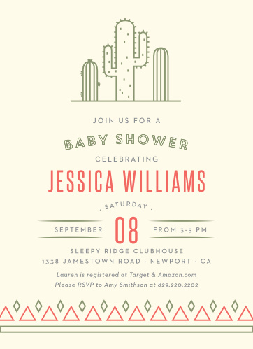 Bring out the inner desert dweller with our Desert Cactus Baby Shower Invitations.