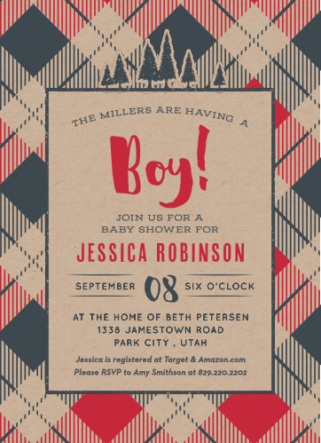 Our Lil' Lumberjack Baby Shower Invitations are the essence of warmth and adventure.