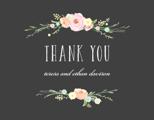 Express your appreciation with the blooming excitement of our Shaded Garden Wedding Thank You Cards. A playful typeface spells out your gratitude in easy-to-read white, contrasting the stormy gray background just as brightly as the pastel florals above and below. With these gorgeous cards, you can say everything you could ever need to.