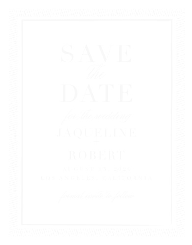 Give your guests all of the information they need, well in advance, with our gorgeous Handdrawn Frame Clear Save-the-Date Cards. An elegant duo of fonts- swooping cursive and a vintage print- ensure that the details are as easy to read as they are on the eyes, while the see-through background offers a different style in every environment.