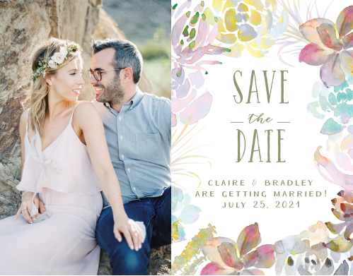Rainbow hued, watercolor succulents frame your wedding details next to your gorgeous engagement photo.