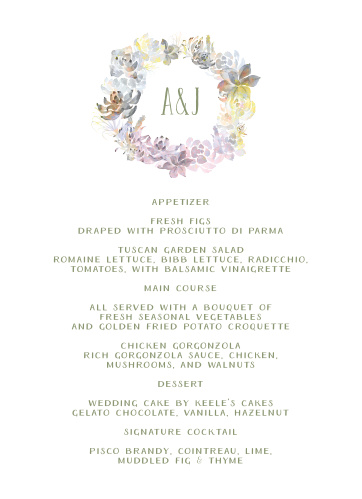 """A rainbow hued, watercolor """"Succulent Wreath"""" frames your initials for these Wedding Menus."""