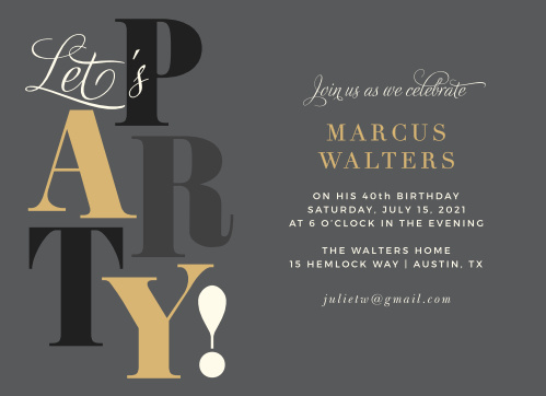 "Our Big Party Adult Birthday Party Invitations put the ""art"" in ""party."""