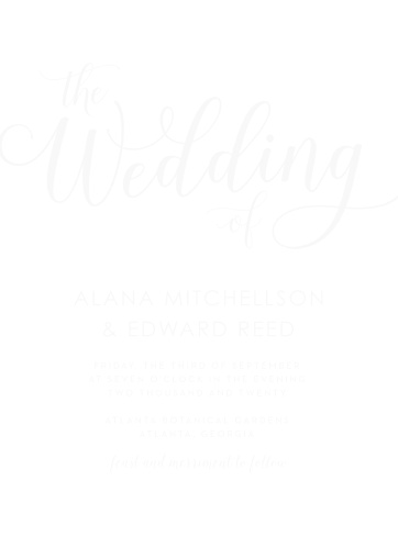 Surround yourself with friends and family on your wedding day with our stunning Big Script Clear Wedding Invitations. Featuring a gorgeous selection of swirling cursives and simple sans-serifs to express your wedding details, as well as a clear background that looks beautiful everywhere you mail it, these cards are a fantastic addition to your wedding planning.