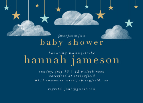 Bright stars and soft clouds descend from the top of our Dark Cloud Baby Shower Invitations.
