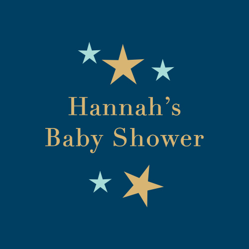 Bright and shining stars frame your name and event for our Dark Cloud Baby Shower Stickers.