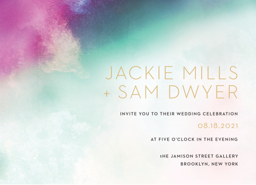 A heavily saturated pink, teal and indigo are blended together atop an exposed canvas for our Love Hues Wedding Invitations.