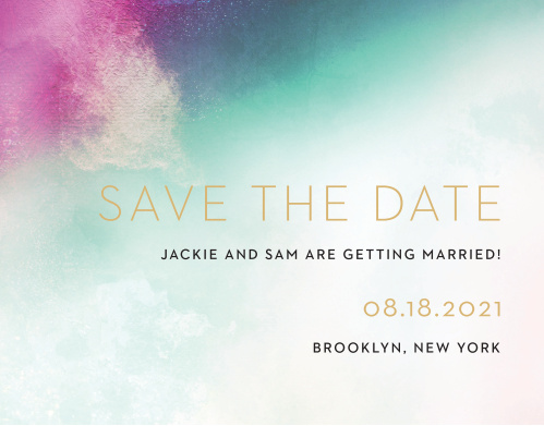 A heavily saturated pink, teal and indigo are blended together atop an exposed canvas for our Love Hues Save-the-Date Cards.