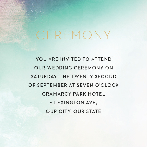 A pale wash of teal mixes with exposed canvas and a blown out white illumination for our Love Hues Ceremony Cards.