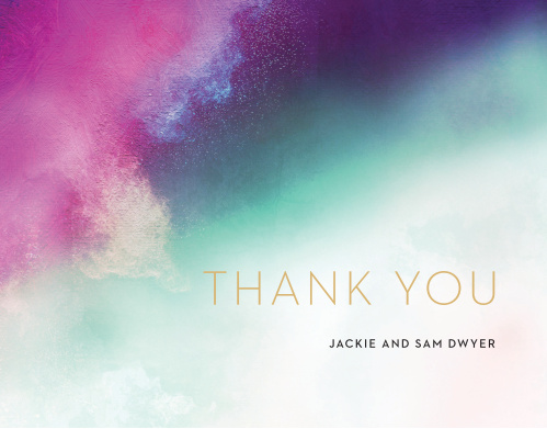 A heavily saturated pink, teal and indigo are blended together atop an exposed canvas for our Love Hues Wedding Thank You Cards.