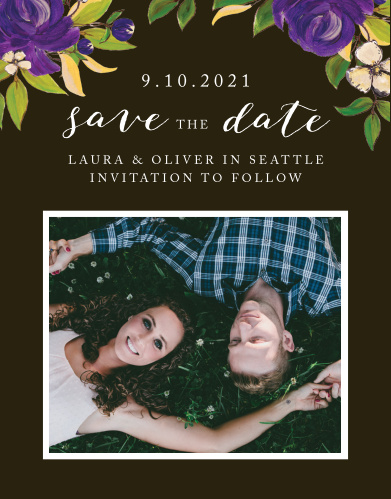 Give your guests everything they need in order to plan for your big day with our Purple Blooms Save-the-Date Magnets. Featuring the same stunning design as the rest of our Purple Blooms wedding suite, these magnets will be a perfect preliminary to your perfect day.