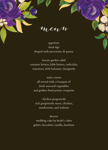 Purple Blooms Wedding Menus describe all of your guests' meal options in mouth-watering detail, each potential decision written in a smooth print below a calligraphy title and vibrant purple flowers. With a style reminiscent of an oil painting and set against a background of warm earth-brown, these gorgeous menus will look stunning on your tablecloths.