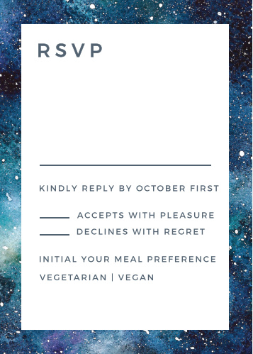 Our Starry Galaxy Response Cards feature a clean and simple template.