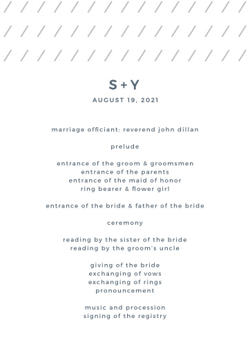 Our Starry Galaxy Wedding Programs feature a clean and modern design.