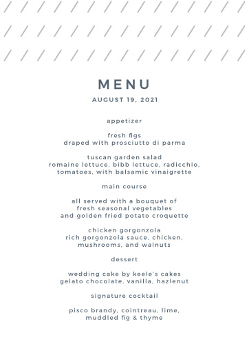 Our Starry Galaxy Wedding Menus feature a clean and modern design.