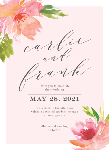 "Your invitational text is written in a duo of fonts on our Botanical Gardens Wedding Invitations- a neat print and curling calligraphy- and carefully contained between stunning florals on opposing corners. Your names swirl across the center of the card in an elegant French-gray, standing out sharply against the light pink background, while the two flowers create a bright and cheerful ""new life"" theme."