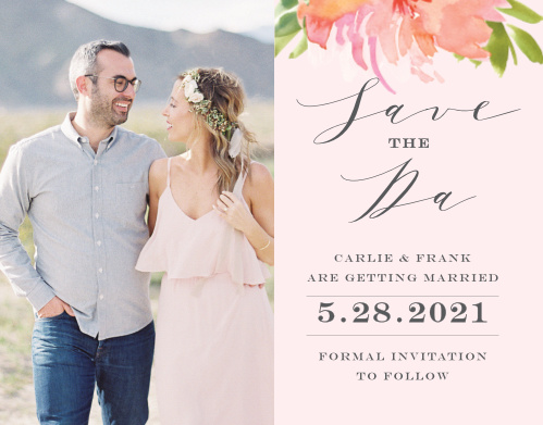 Botanical Gardens Save-the-Date Cards guarantee that your guests mark their calendars well in advance of your big day. Choose your favorite engagement photo to decorate the left-hand side, then use the smooth scripts, elegant prints, and soft florals of the right to detail every important piece of your wedding day.