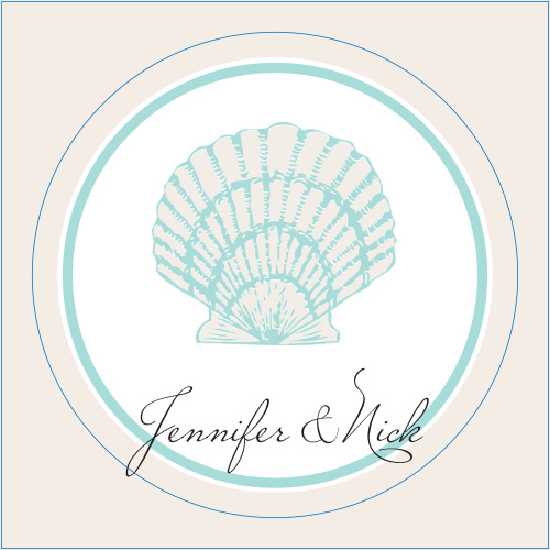 The Tiny Seashell logo square is the perfect finishing touch for this or any wedding invitation set.