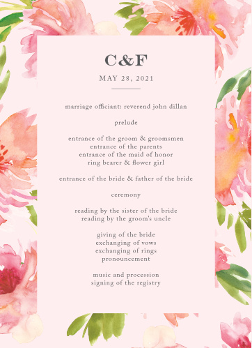 Help your guests follow along with every unique moment of your wedding ceremony with our Botanical Gardens Wedding Programs. Set against a stunning backdrop of pink and green florals and utilizing a combination of elegant print and subtle calligraphy, your guests will appreciate these cards for their simple beauty.