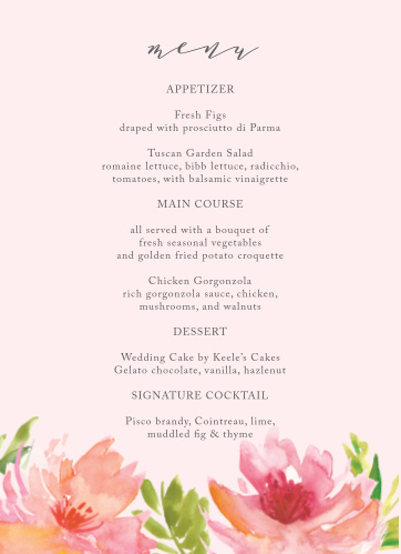 Describe your guests' meal options in mouthwatering detail and unforgettable style with our Botanical Gardens Wedding Menus.
